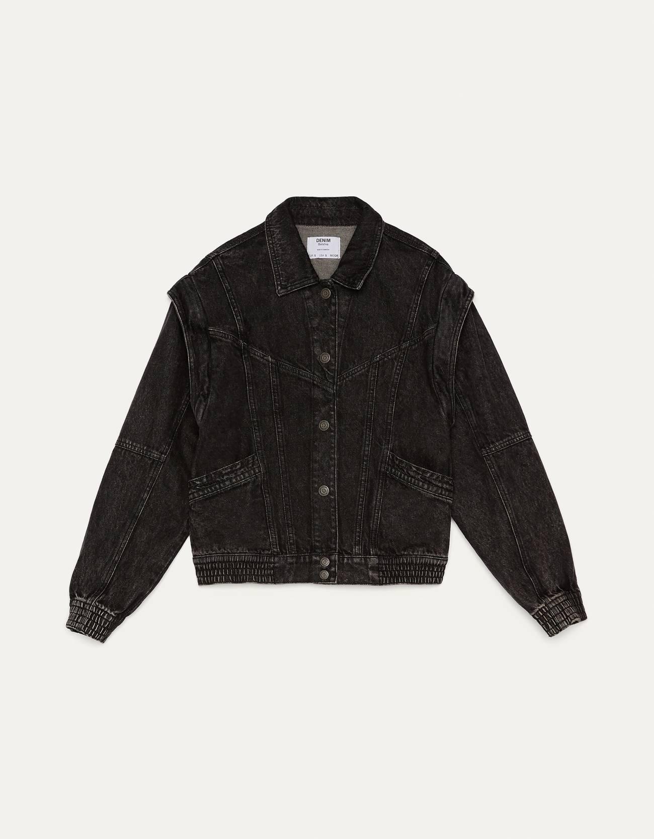 Джинсовая куртка Черный Bershka