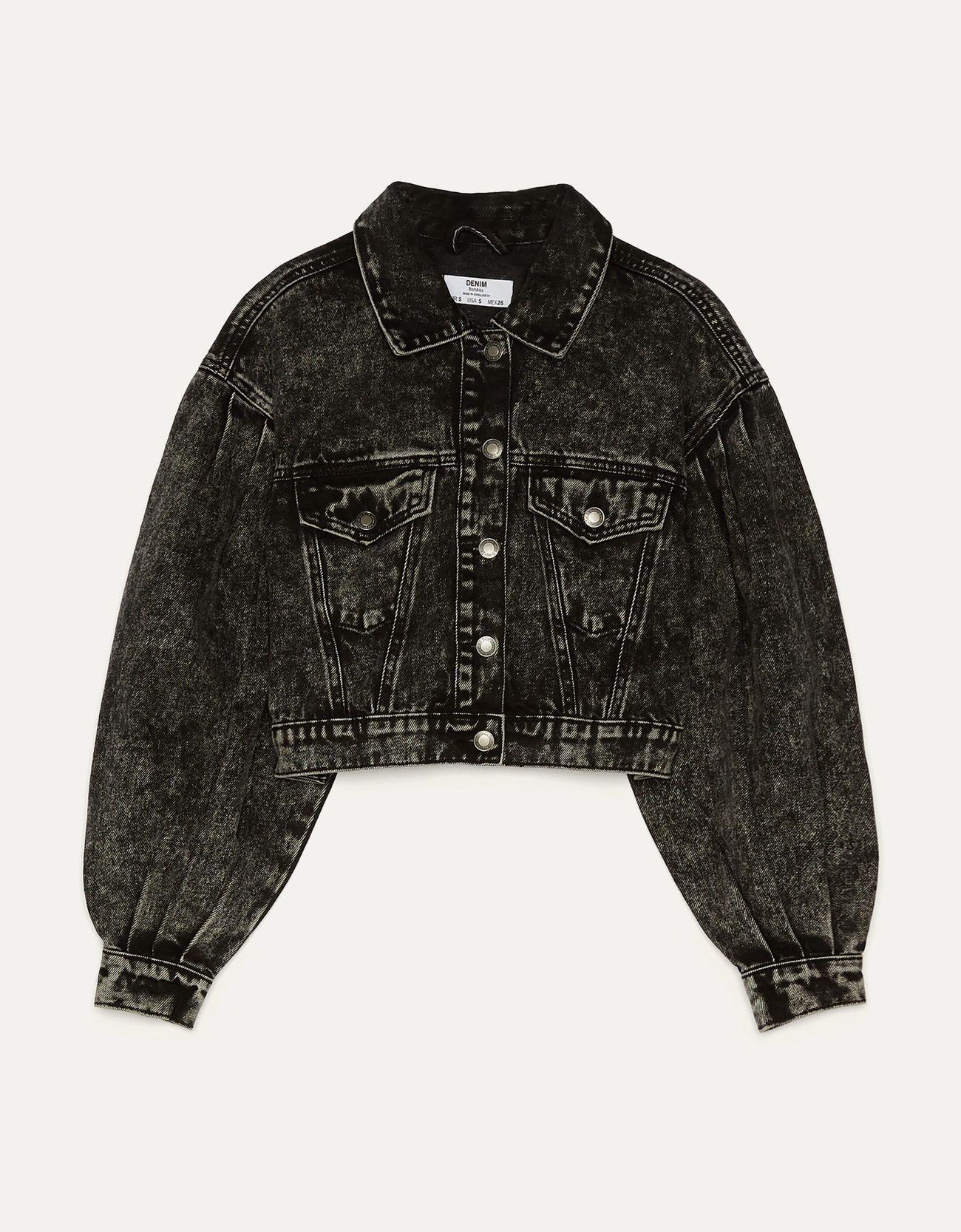 Укороченная джинсовая куртка ЧЕРНЫЙ Bershka