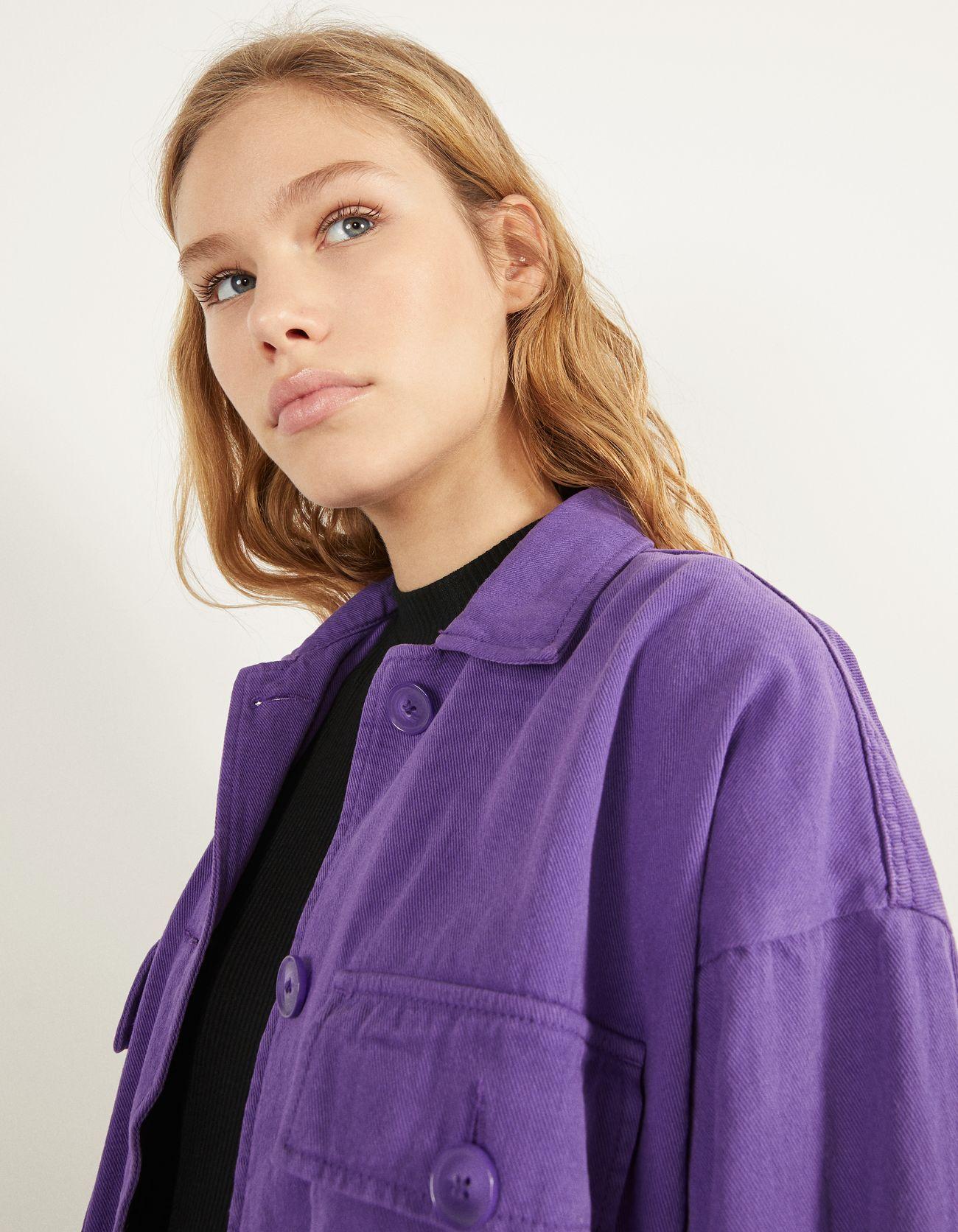 Джинсовая куртка с пуговицами Фиолетовый Bershka