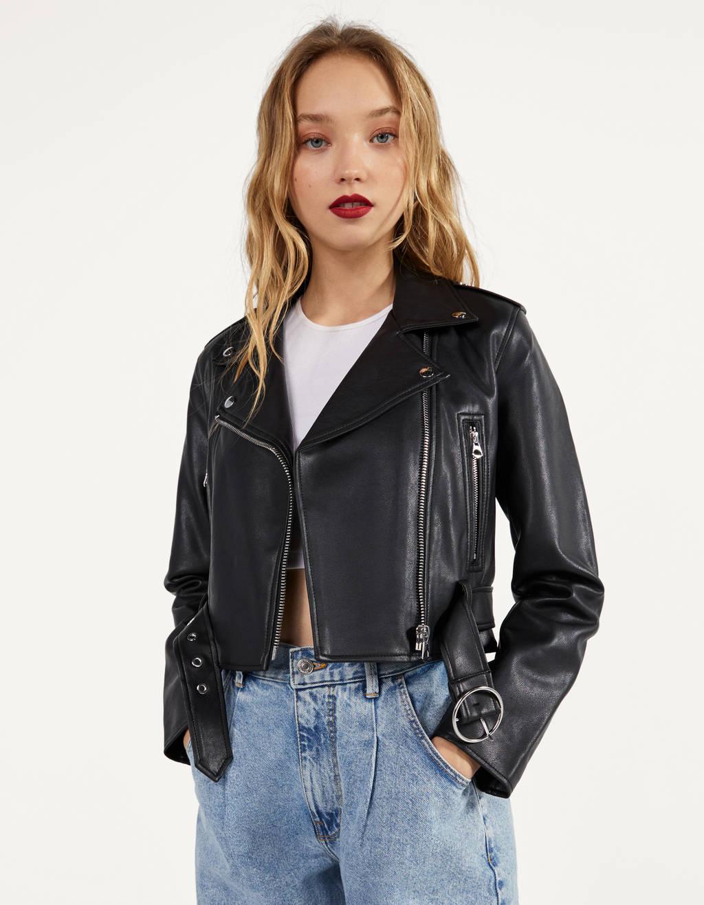 Куртка в байкерском стиле, из искусственной кожи