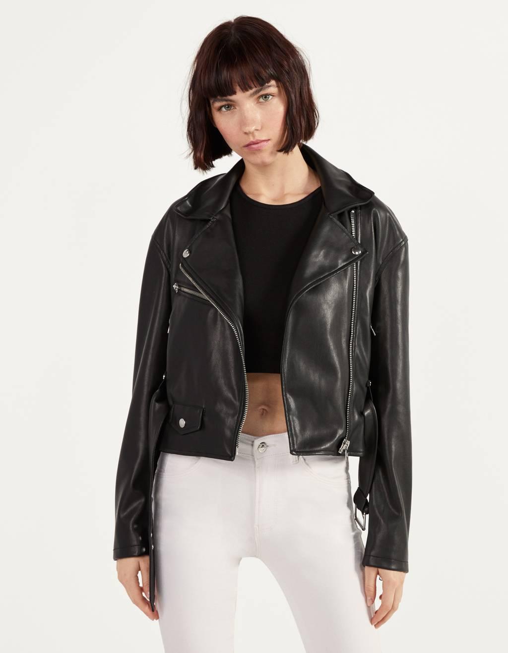 Faux Leather Biker Jacket Null Bershka Oman