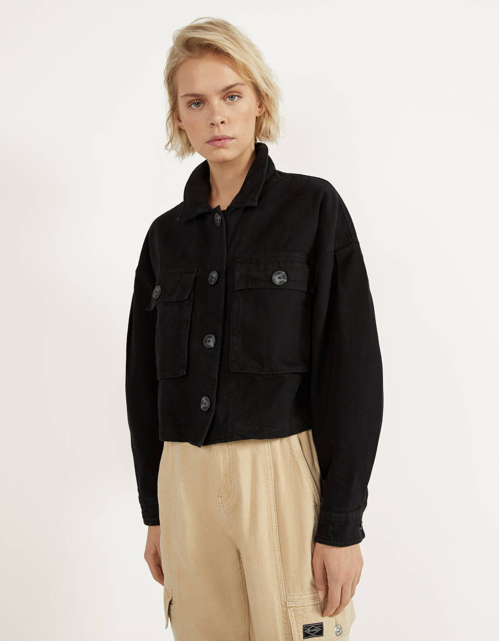 Utility jacket with puff sleeves