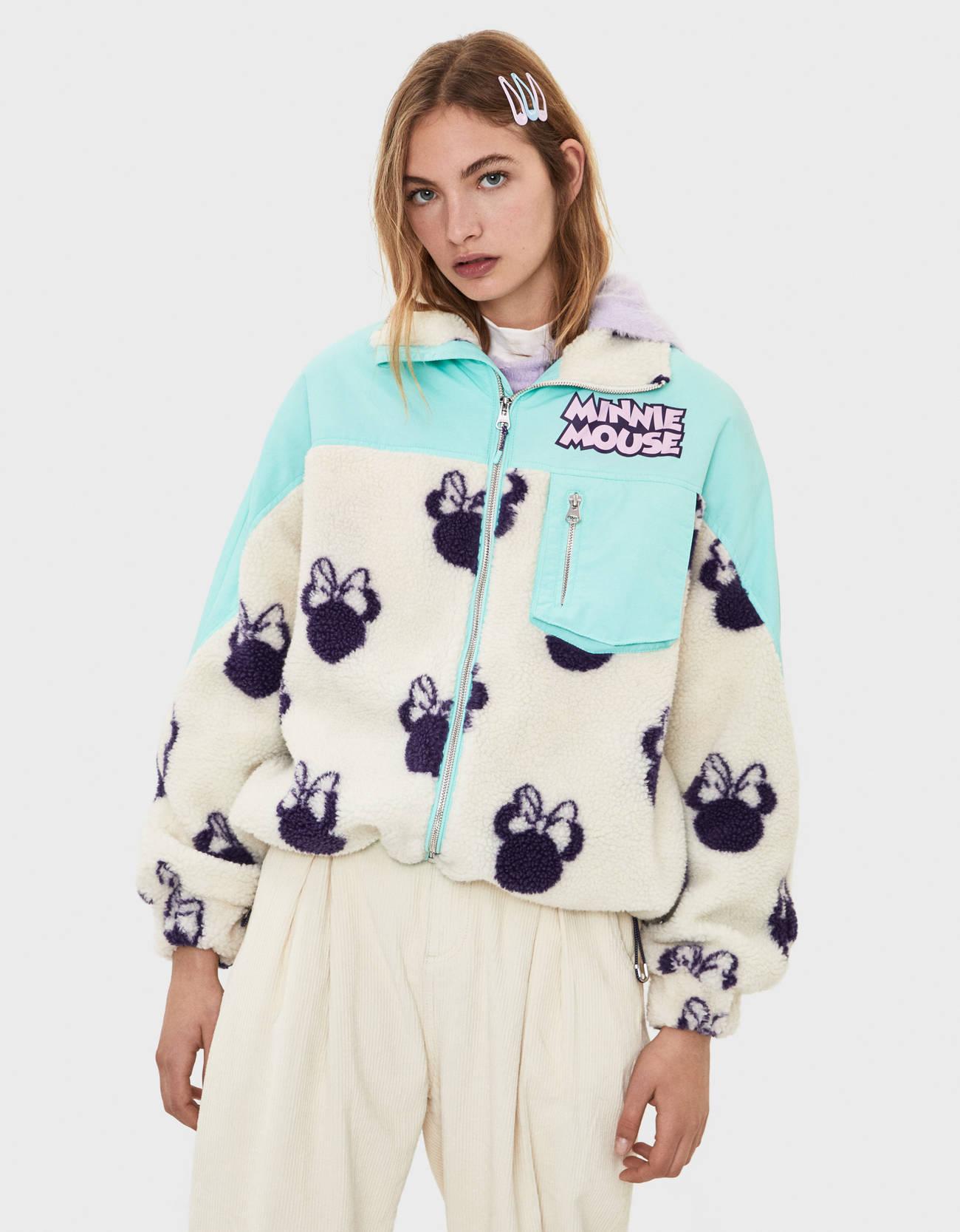 Куртка из искусственного меха и нейлона с принтом «Минни» ЗЕЛЕНЫЙ Bershka