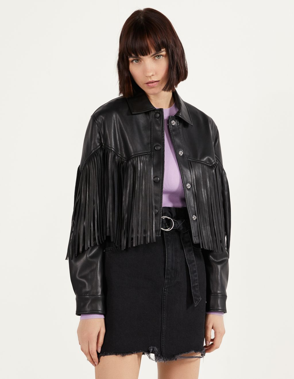 Faux leather jacket with fringing