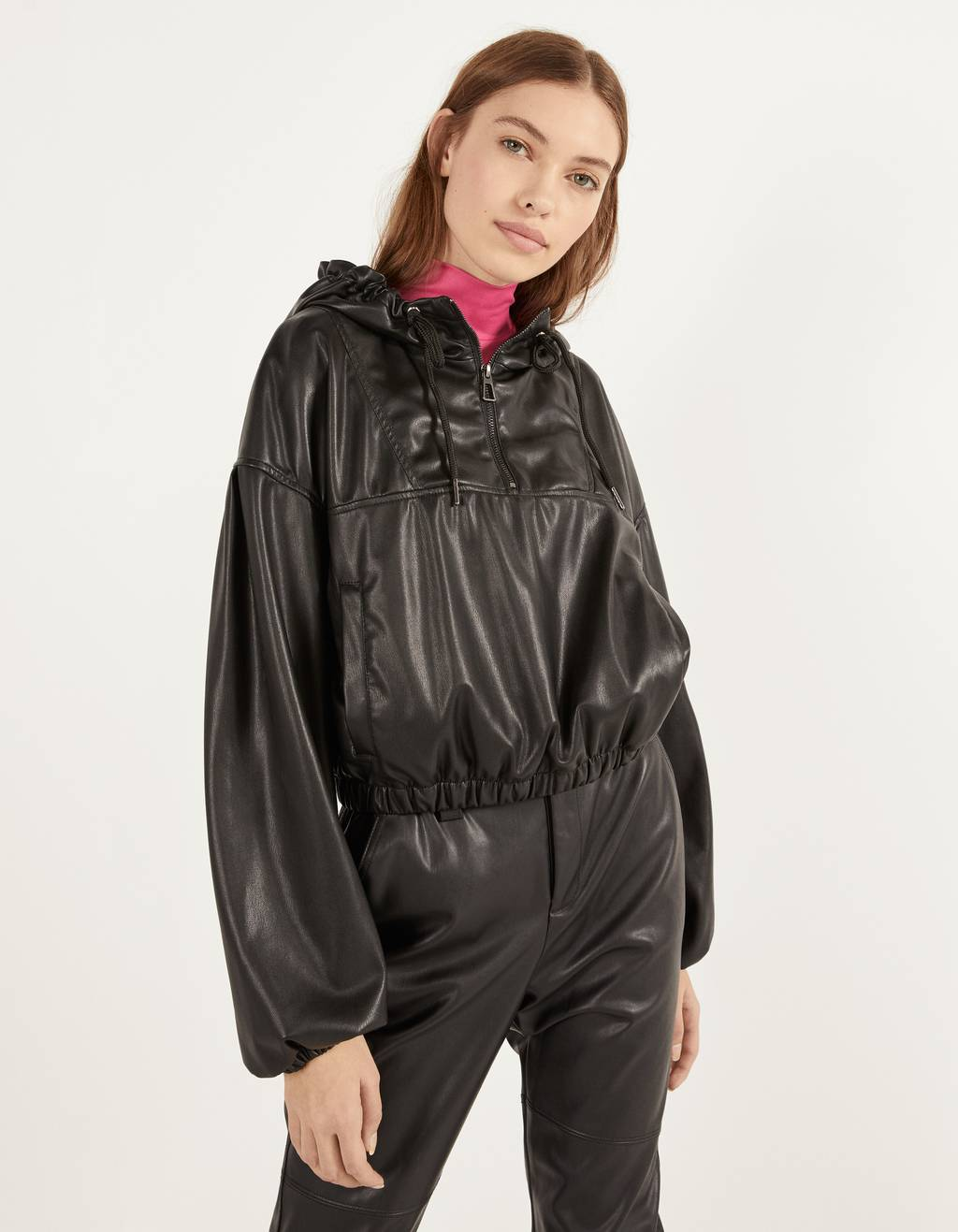 Faux leather anorak jacket