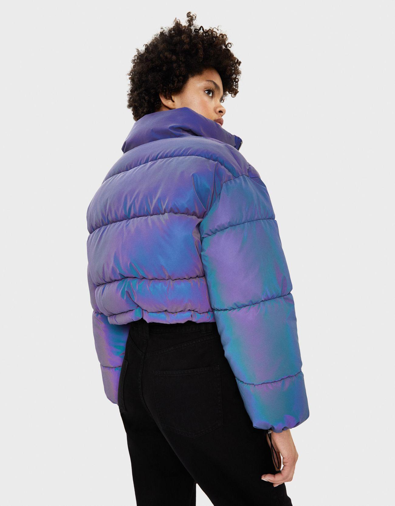 Куртка-пуховик со светоотражающей отделкой Фиолетовый Bershka