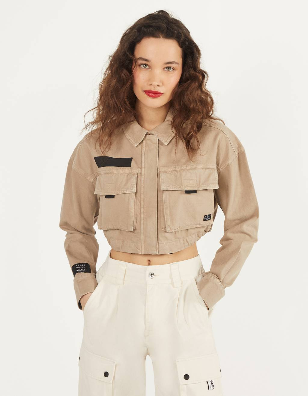 Cropped utility jacket