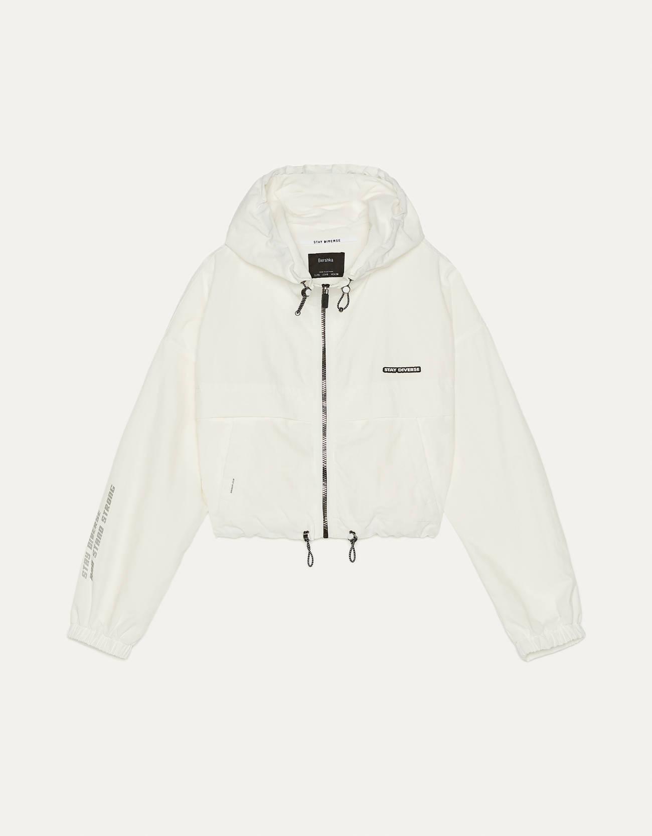 Куртка с капюшоном и светоотражающими деталями Белый Bershka