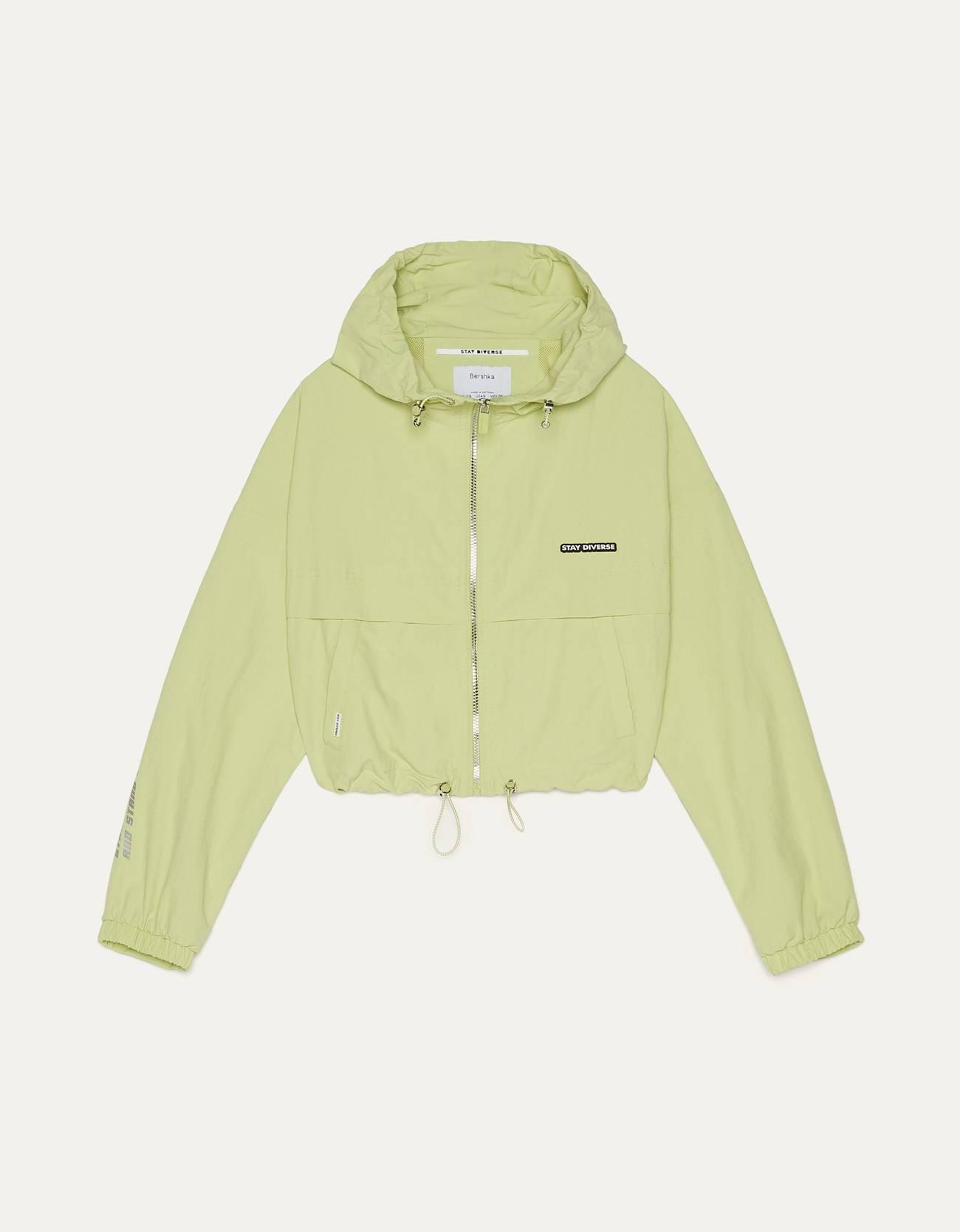 Куртка с капюшоном и светоотражающими деталями Зеленый Bershka