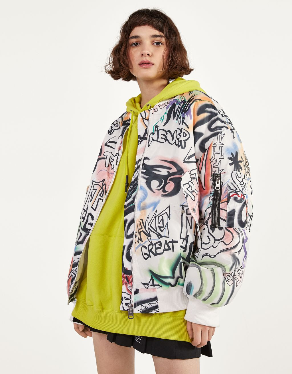 Oversized printed bomber jacket