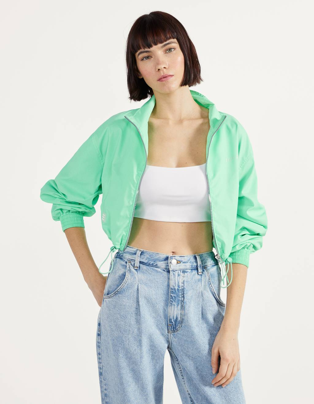 Reflective cropped jacket