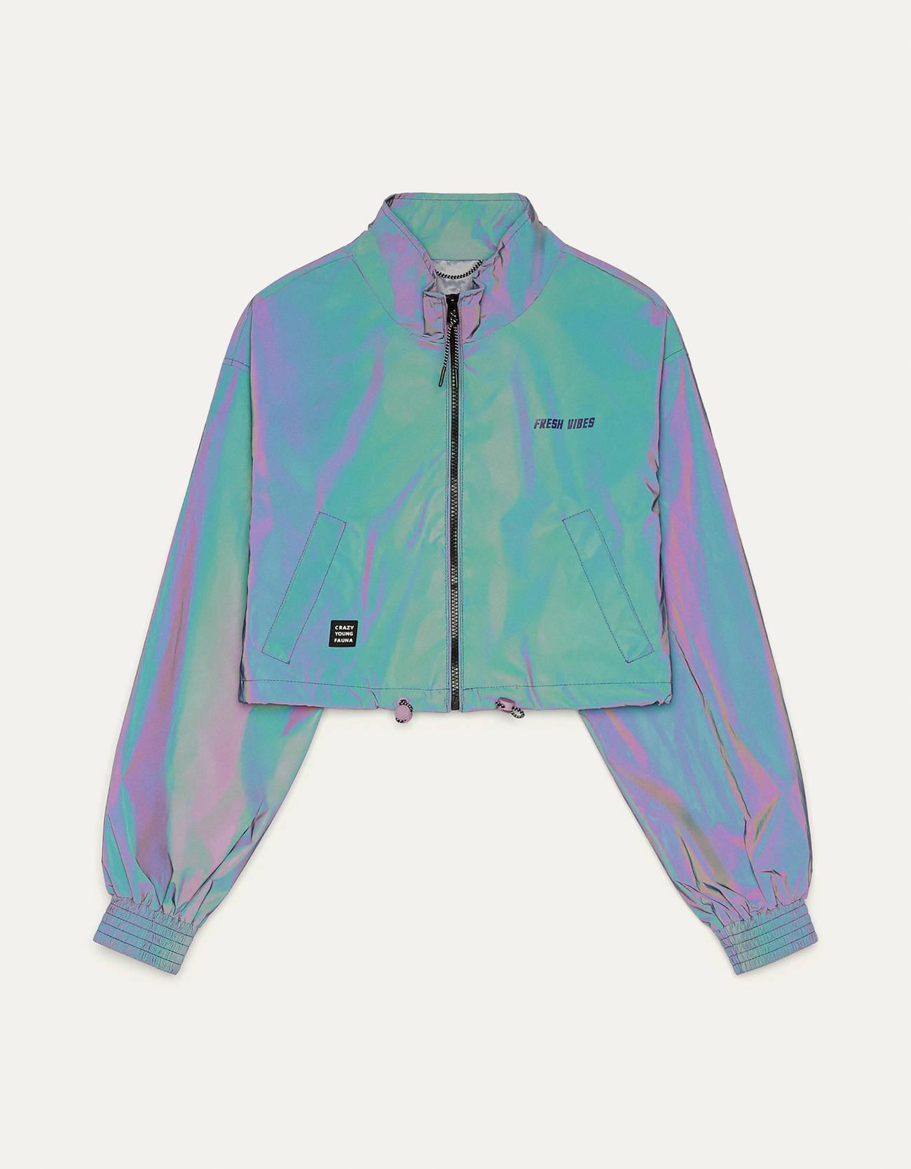 Укороченная светоотражающая куртка Фиолетовый Bershka