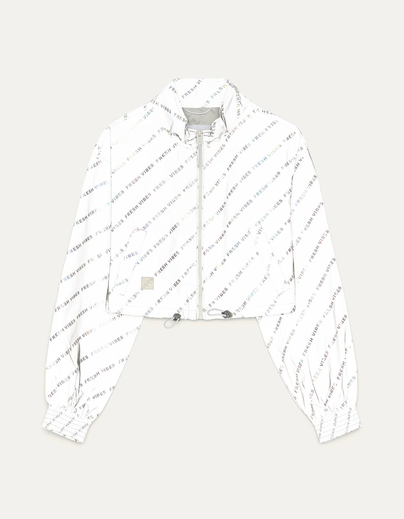 Укороченная светоотражающая куртка СЕРЫЙ Bershka
