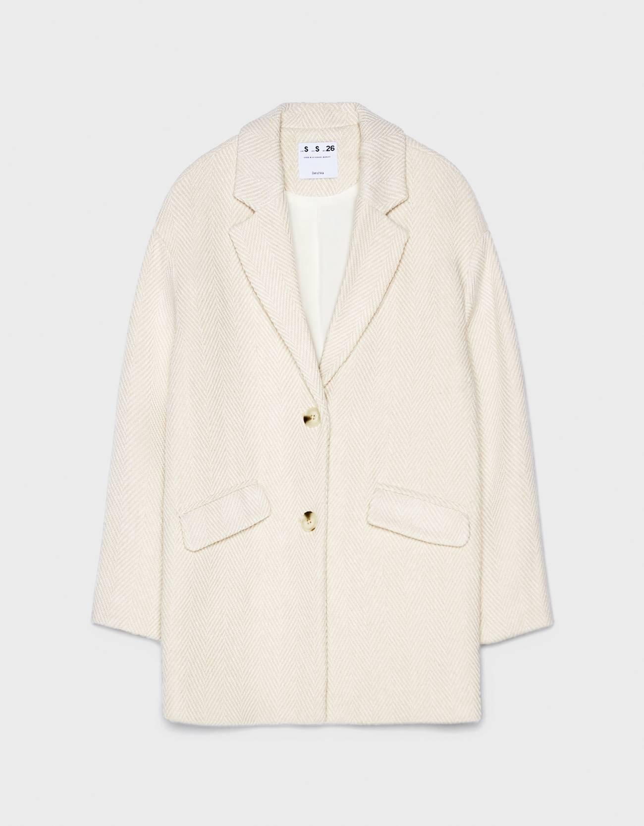 Пальто в мужском стиле Песочный Bershka