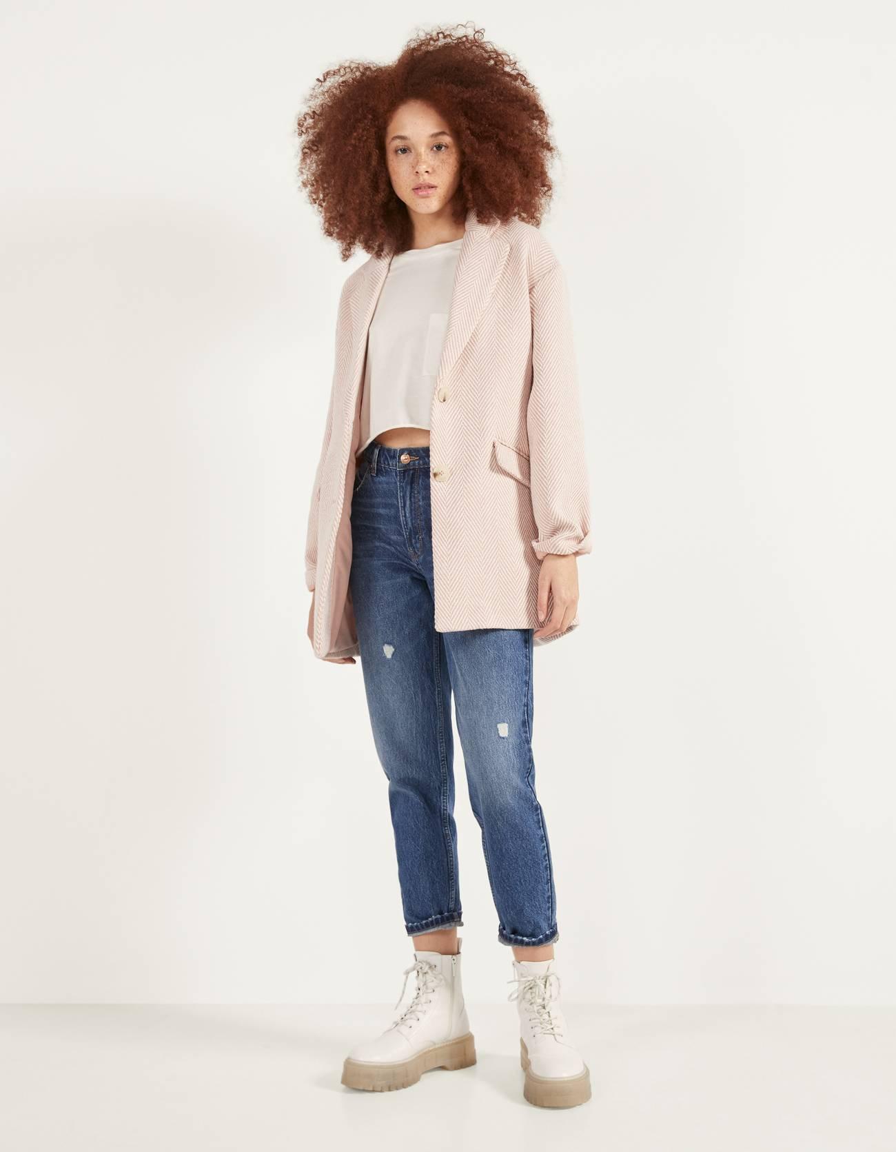 Пальто в мужском стиле Розовый Bershka
