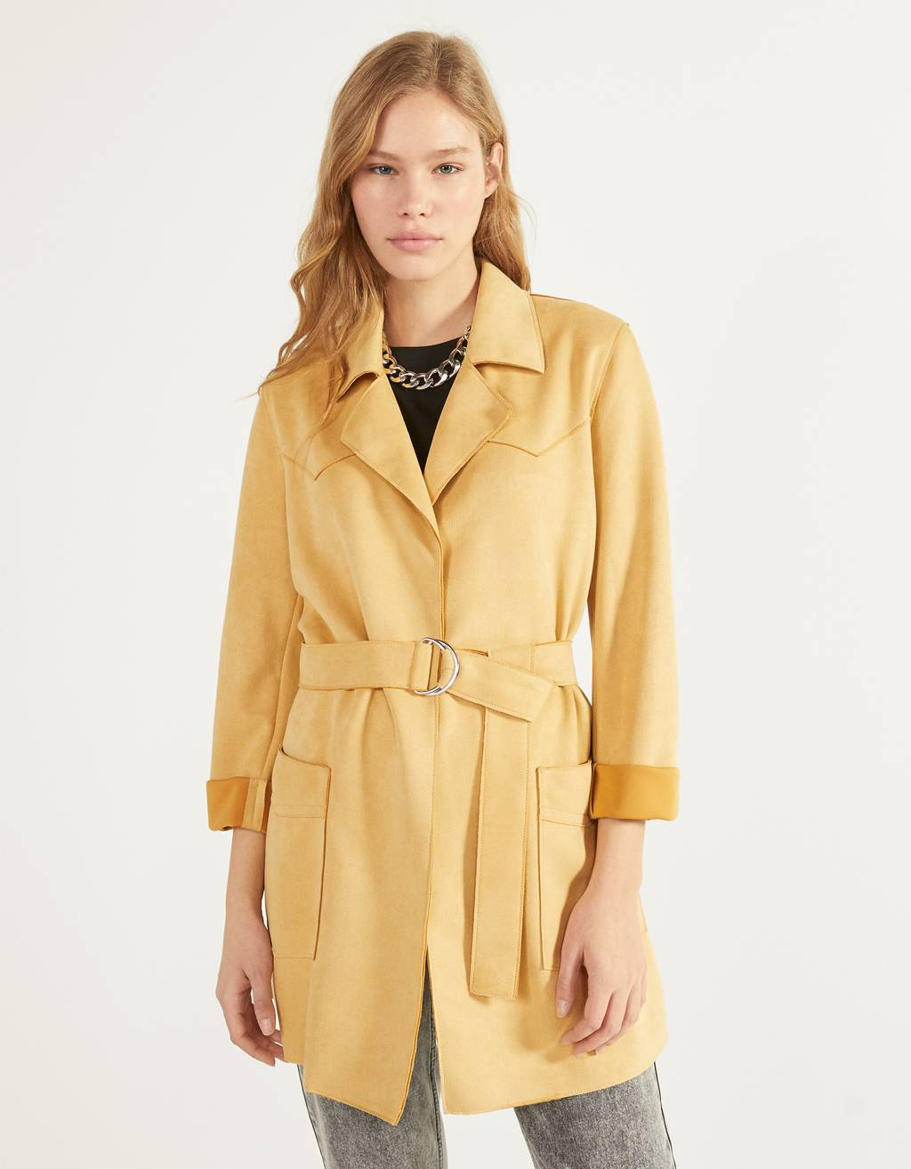 Faux suede trench coat with belt