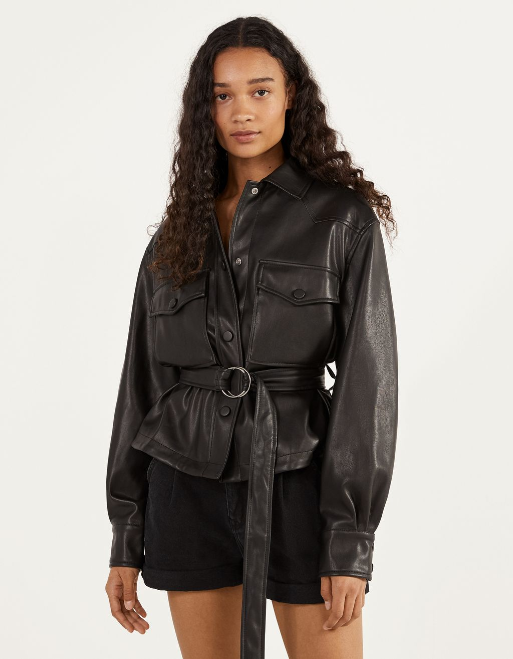 Faux leather overshirt with a belt