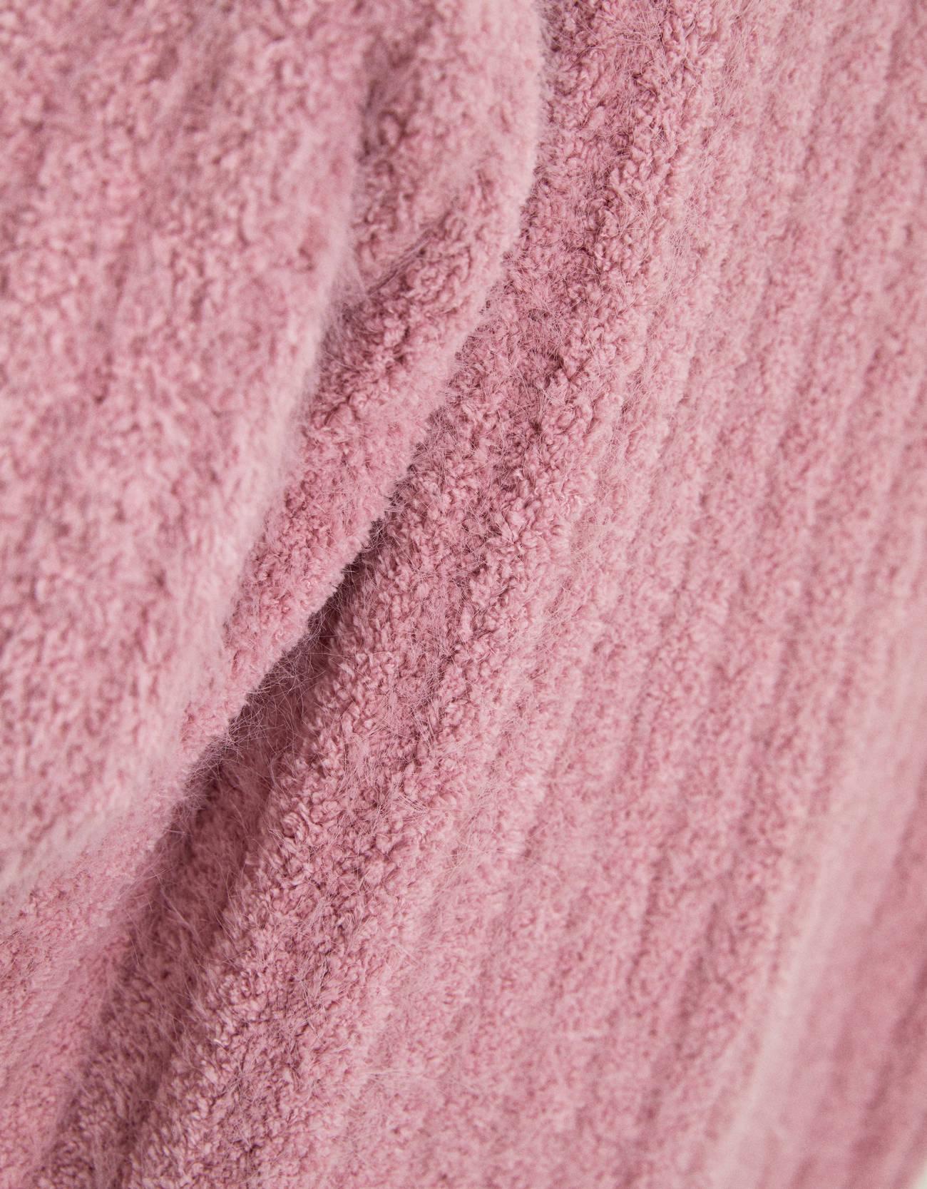 Кардиган с карманами из пушистой пряжи Розовый Bershka