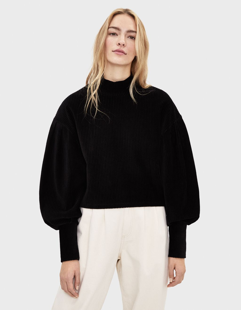 Loose fit sweater i fløjl