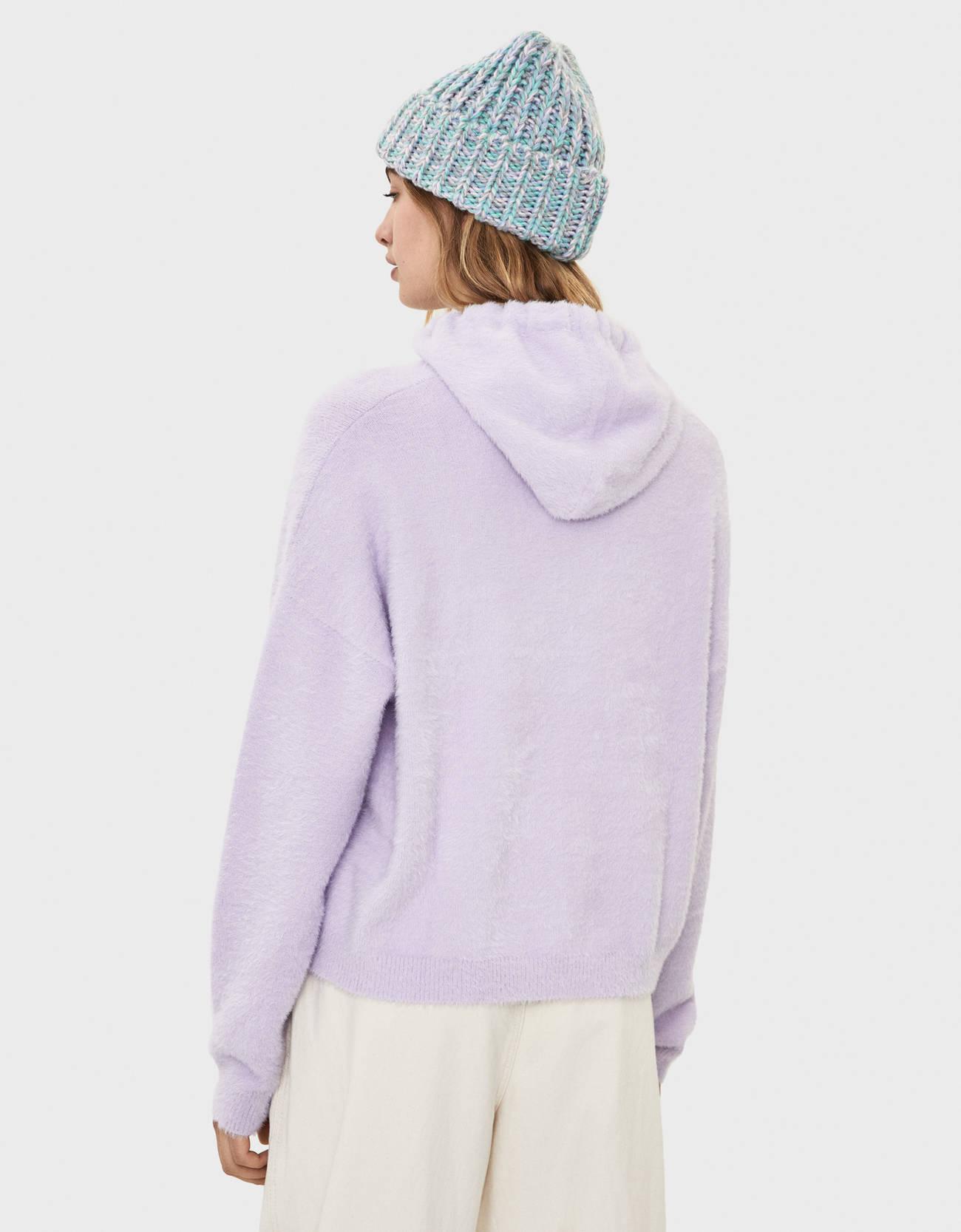 Худи из искусственного меха Фиолетовый Bershka