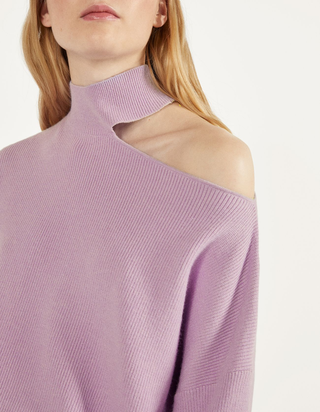 Свитер асимметричного кроя Фиолетовый Bershka