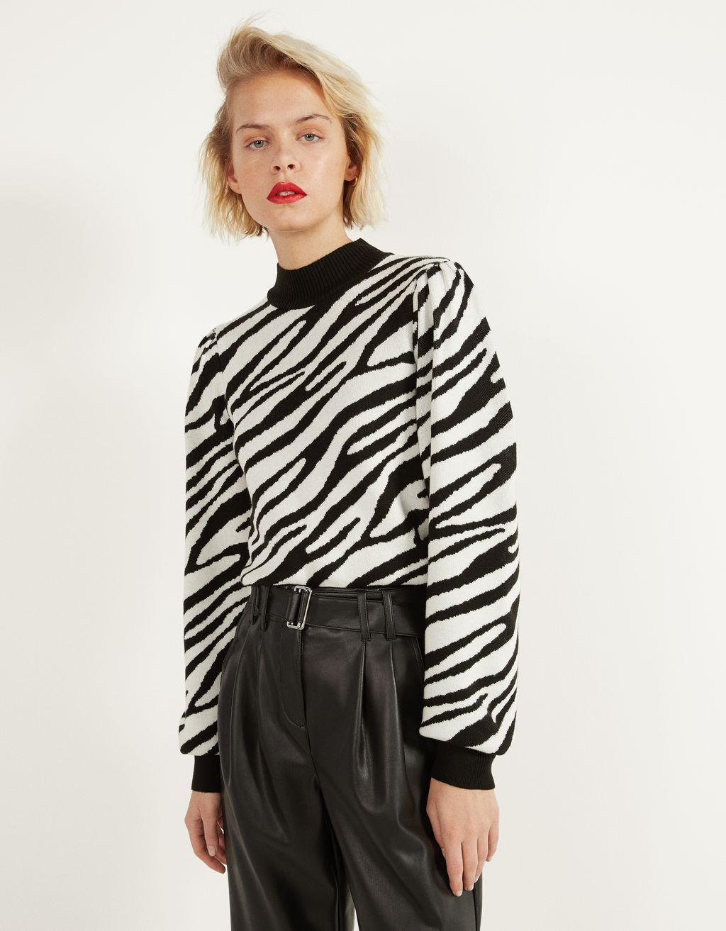 Puff sleeve zebra print sweater