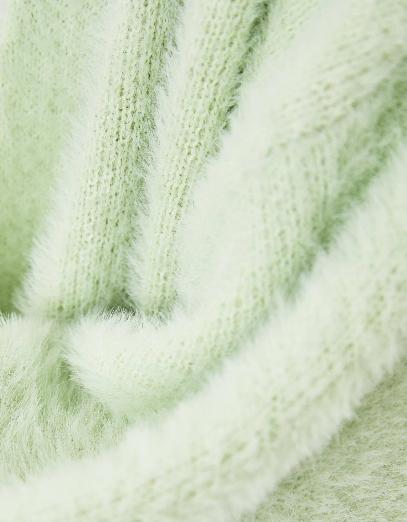 Пушистый кардиган оверсайз Зеленый Bershka