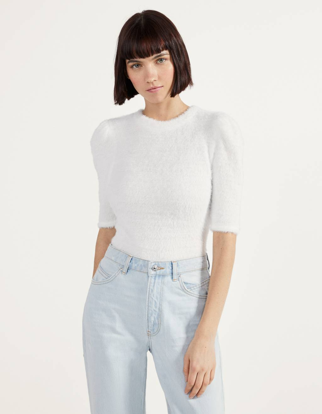 Fluffy puff sleeve T-shirt