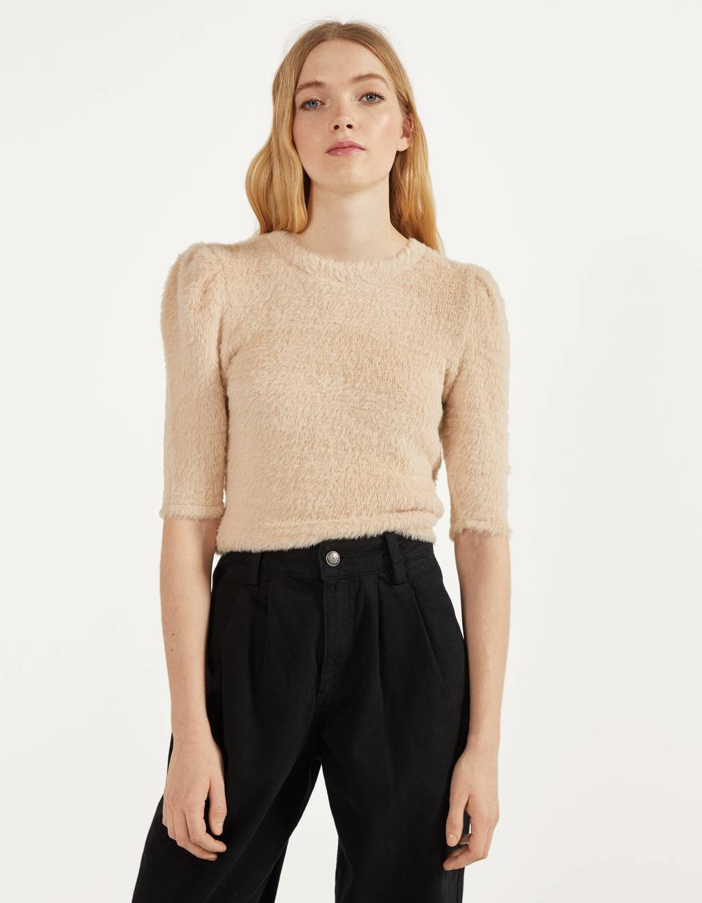Fluffy puff sleeve top