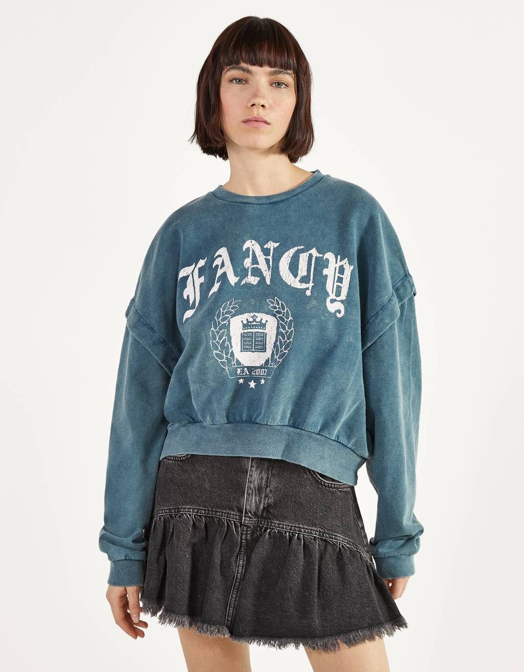 Printed acid wash sweatshirt