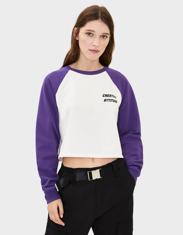 Printed sweater with raglan sleeves