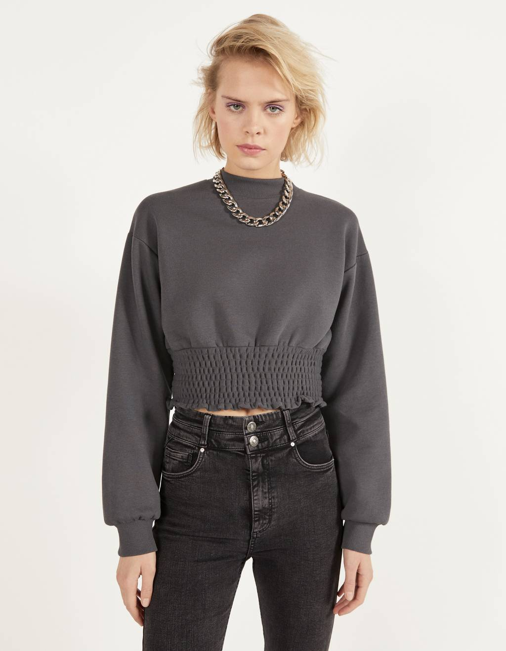 Sweatshirt with shirred elastic