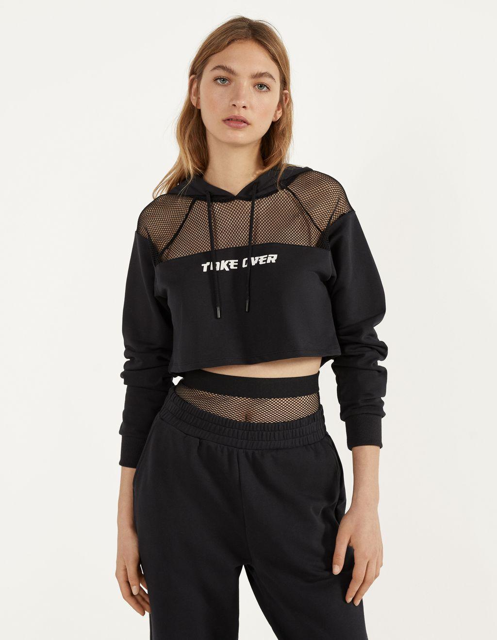 Sweatshirt met gaasstof