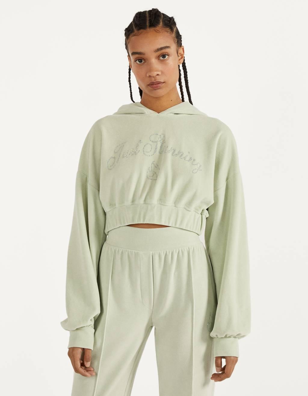 Sweatshirt de veludo com brilho