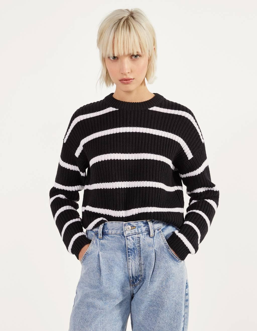 Round neck oversized sweater