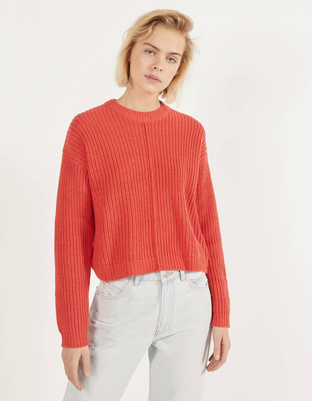 Round neck oversized sweater