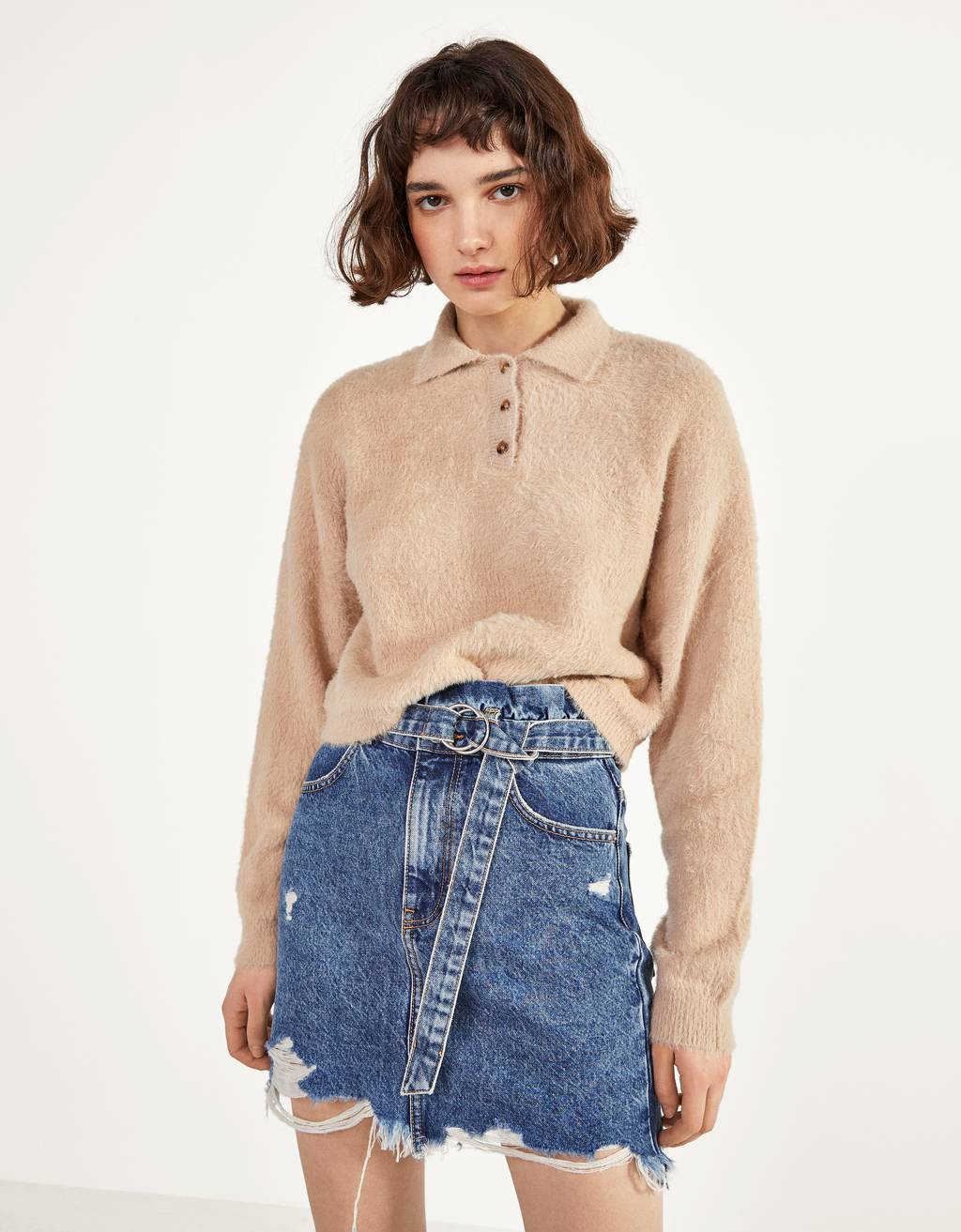 Faux fur polo-style sweater
