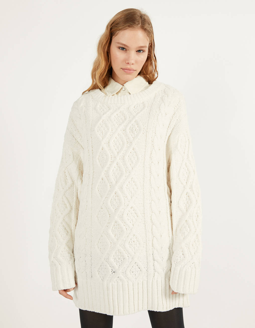 Oversize cable-knit sweater