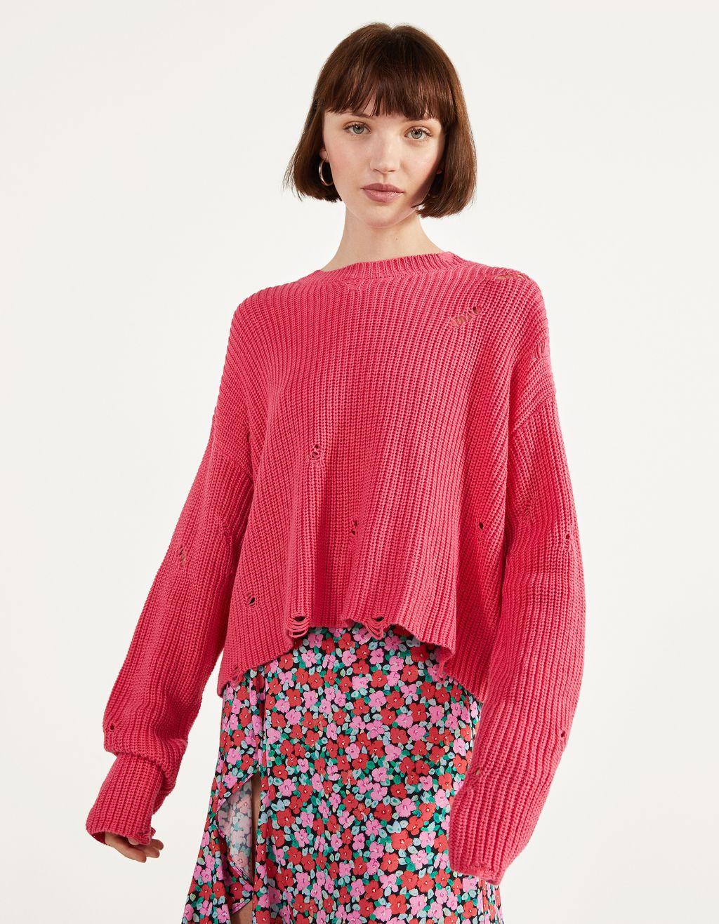 クラッシュ加工セーター