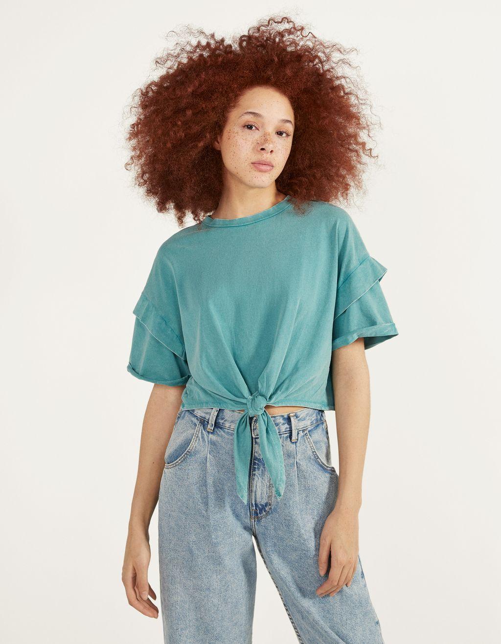 Trumpi marškinėliai su mazgu