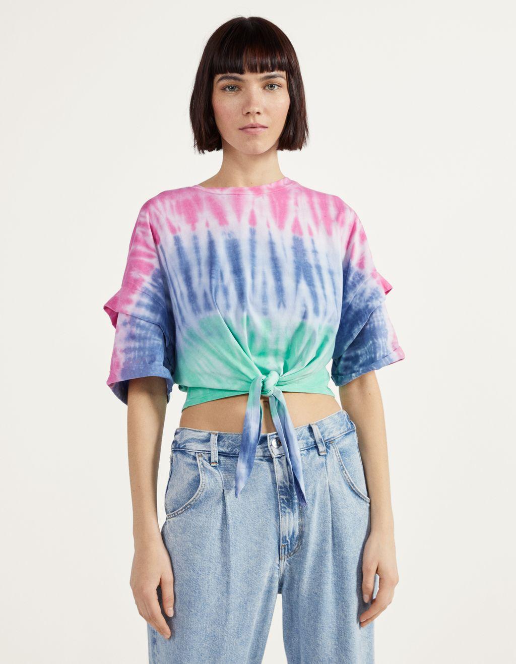Блуза тип cropped с възел