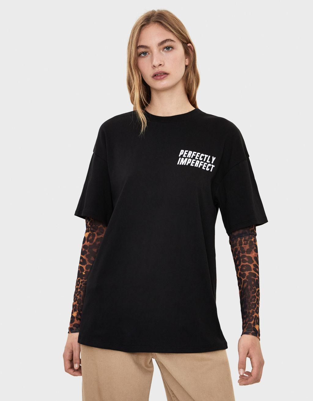 Majica s dvostrukim rukavima i printom