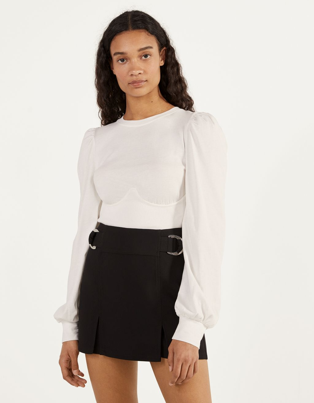 Corset-style top with puff sleeve