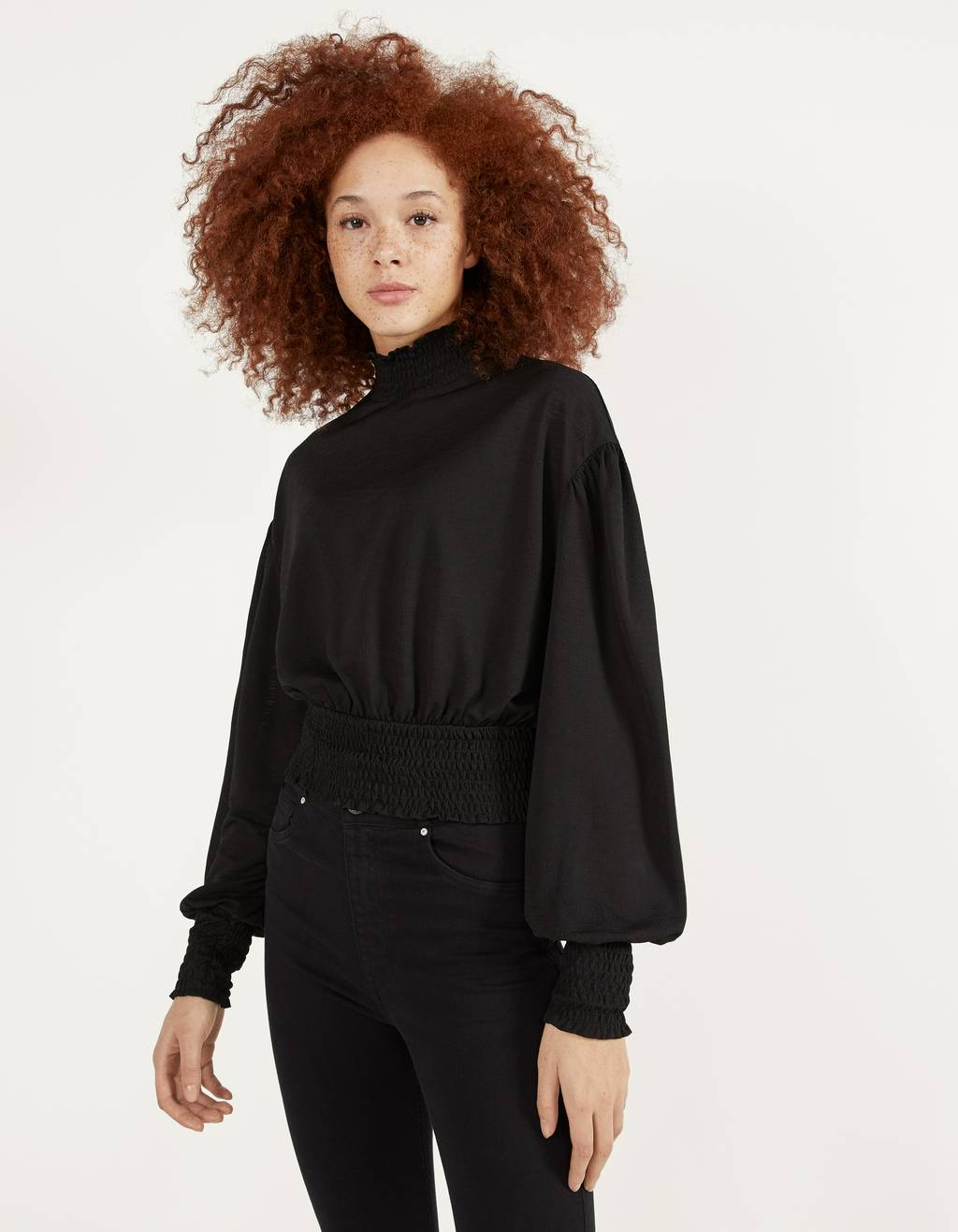 Ruched long sleeve top