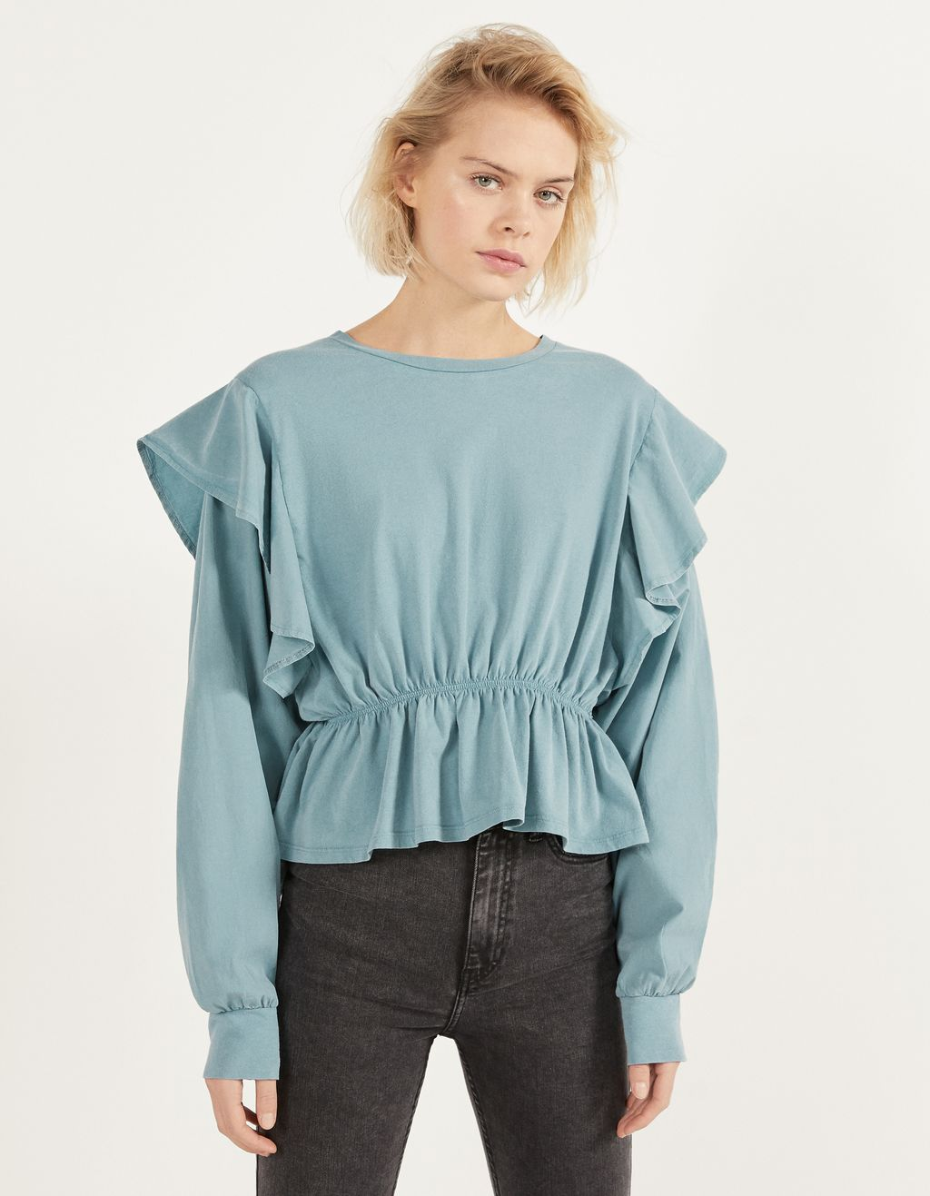Top with ruffles and shirring