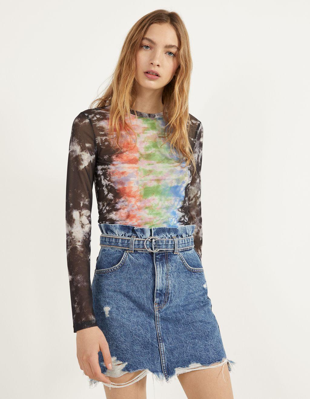 T-shirt de tule com estampado