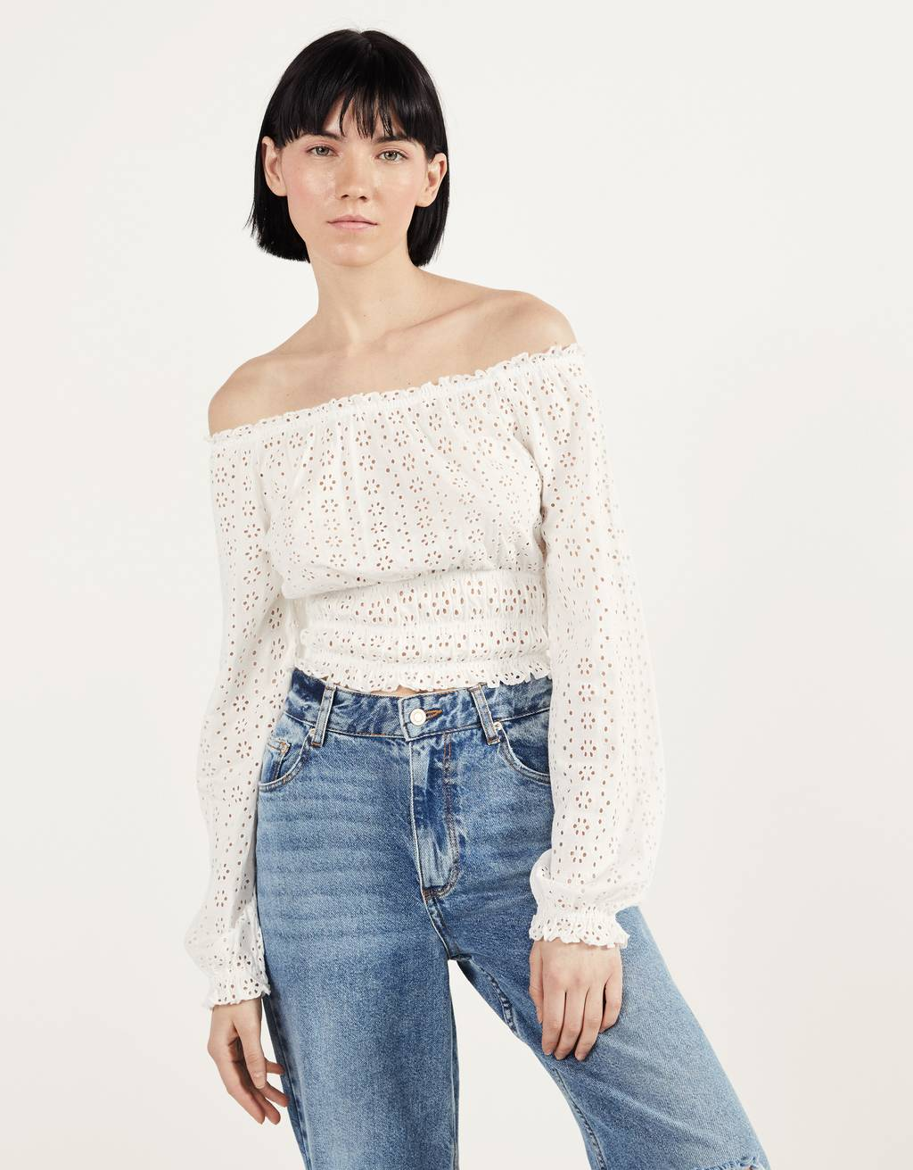 Off-the-shoulder top with Swiss embroidery