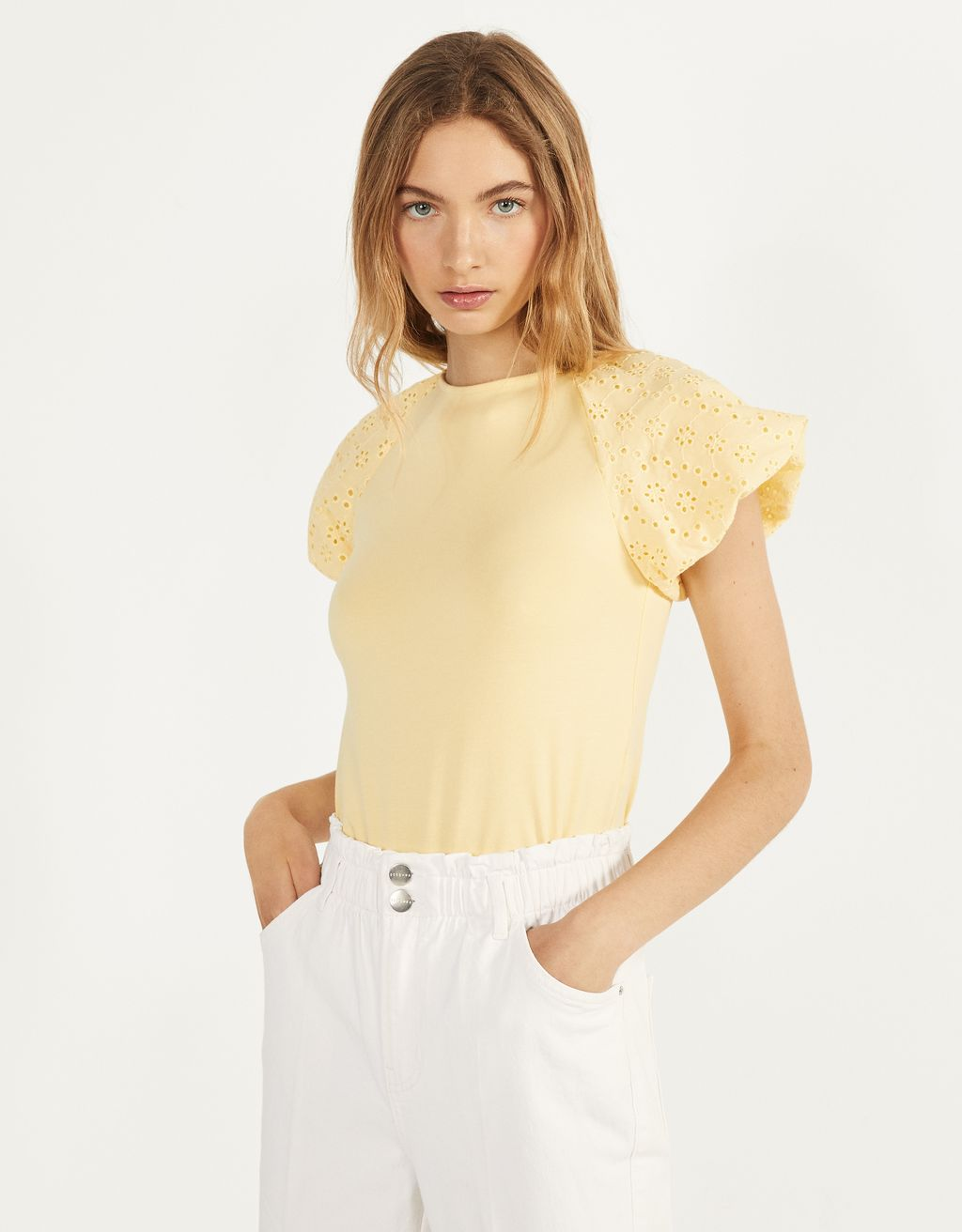 Swiss-embroidered top
