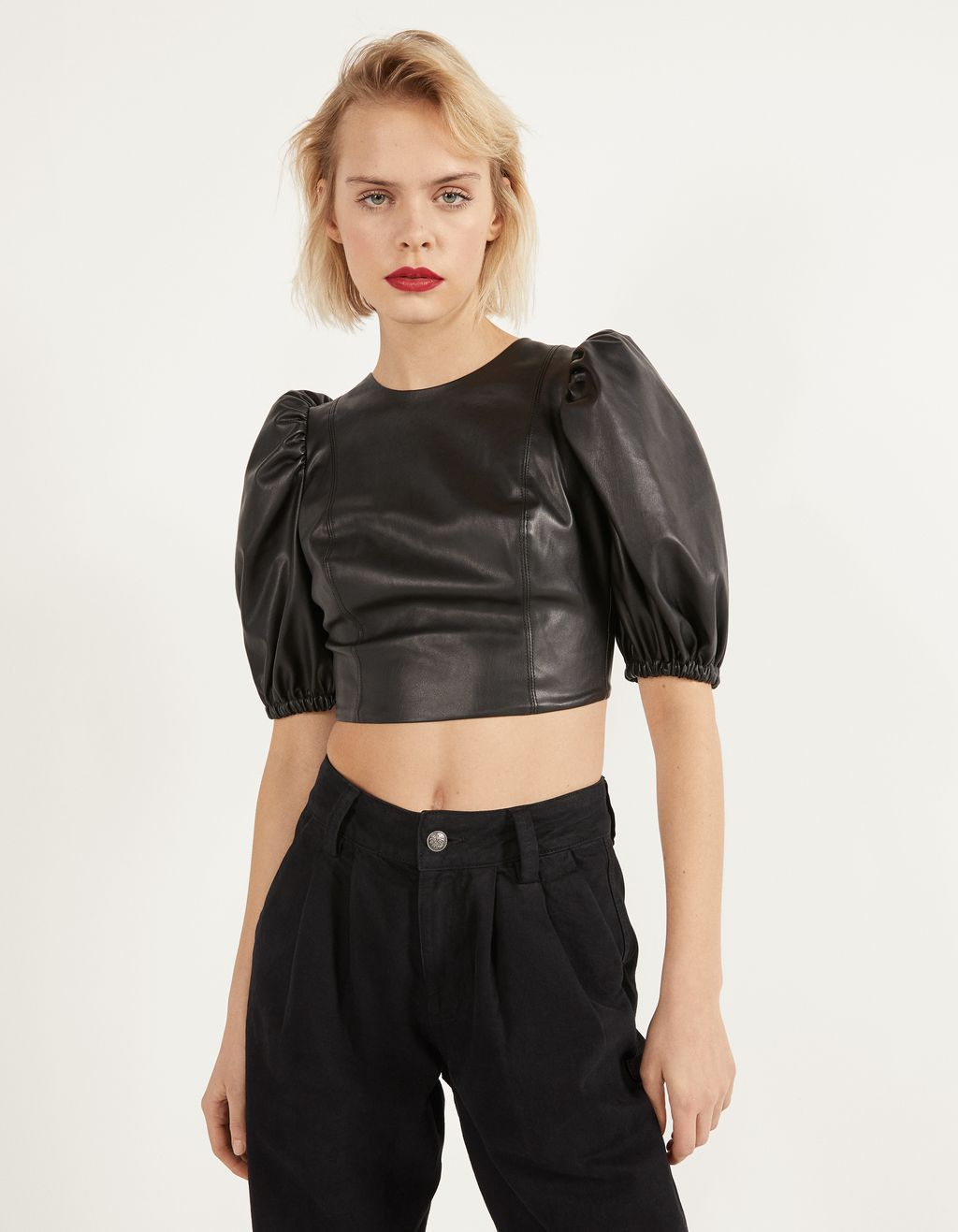Faux leather blouse with puffed sleeves