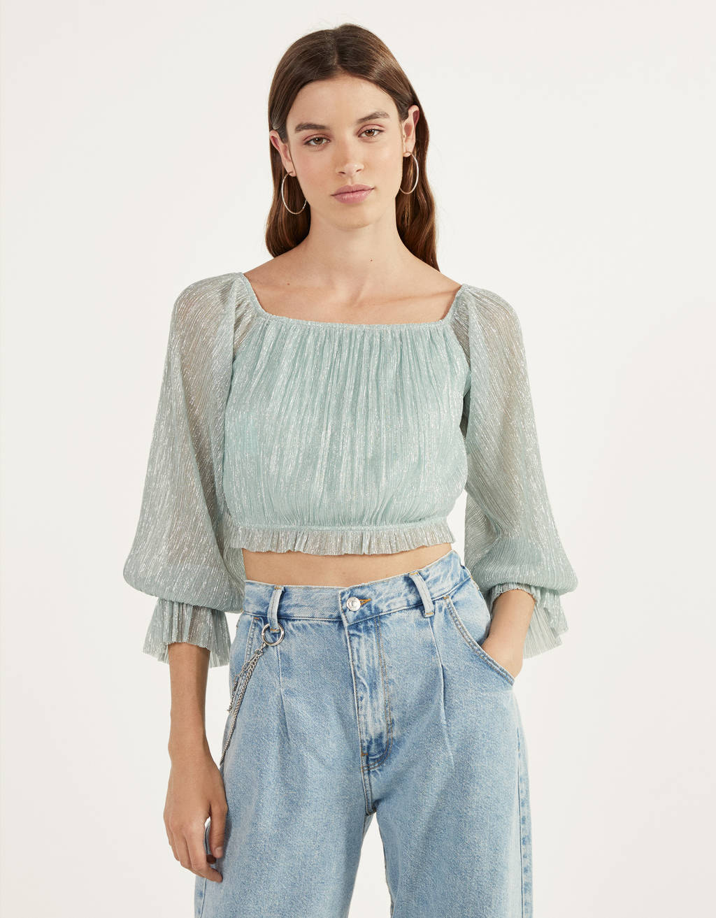 Pleated off-the-shoulder T-shirt
